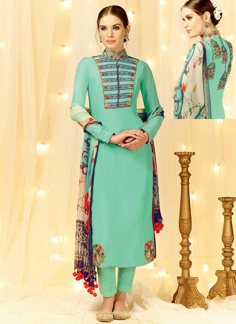 1d8976ffaf Magical Turquoise Embroidery Work Cotton Satin Pakistani Suit.Online ...