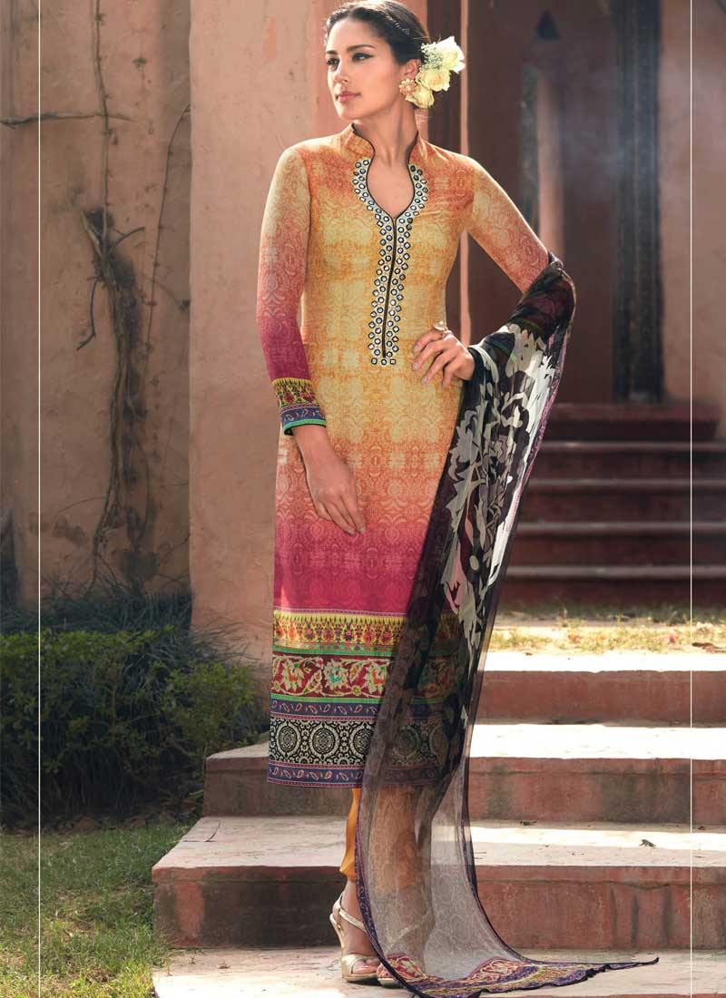 Magical Mustard Mirror Work Printed Cotton Silk Pakistani Suit ...