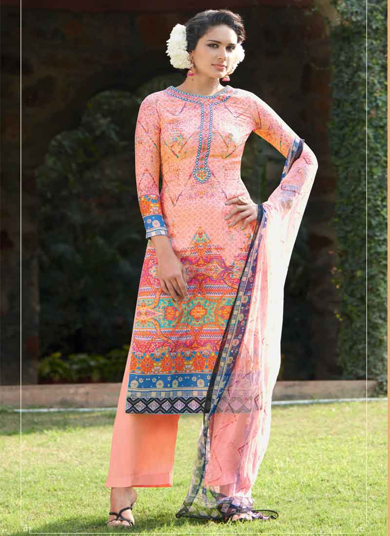 e860b67ed53 Precious Peach Mirror Work Cotton Silk Pakistani Palazzo Suit ...