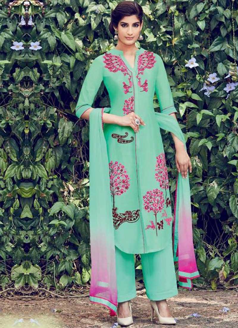 73bc4577ea Turquoise Embroidery Thread Work Cotton Satin Designer Pakistani Palazzo  Suit