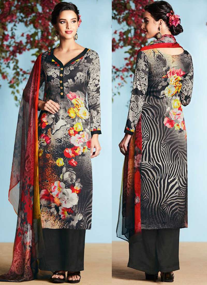 2e0b25889e Black Printed Satin Georgette Designer Casual Pakistani Palazzo Suit ...