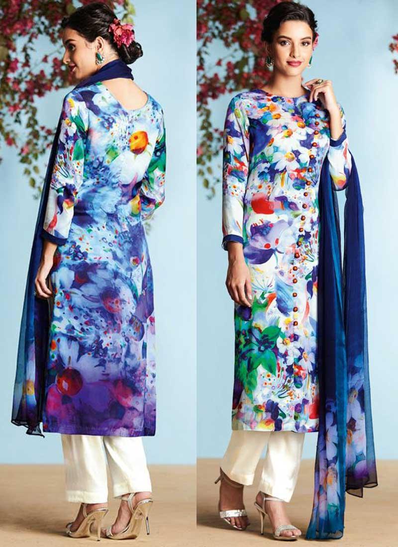 Blue Off White Printed Satin Georgette Designer Casual Pakistani ...