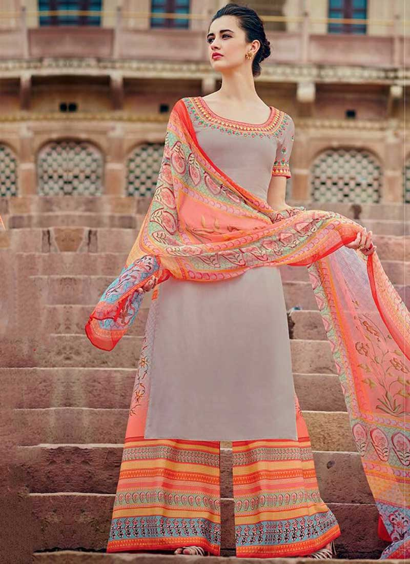 07232974292 Grey Embroidery Work Cotton Satin Designer Print Pakistani Palazzo Suit