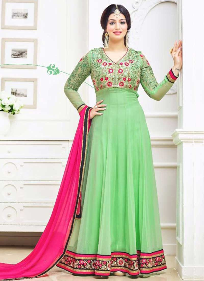 ee38c96d74 Ayesha Takia Parrot Green Embroidery Work Georgette Anarkali Suits ...