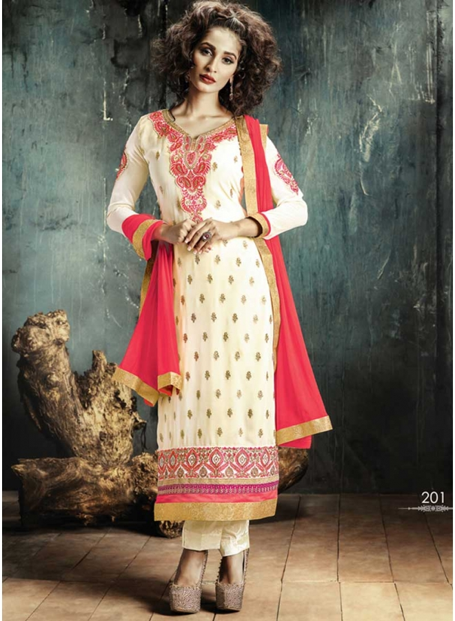 Stylish Cream And Pink Georgette Pakistani Suit