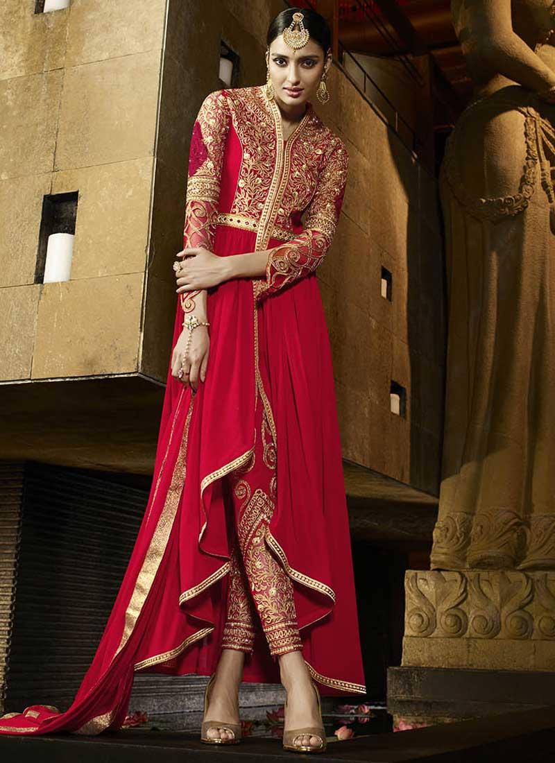 Red Embroidery Zari Work Georgette Chiffon Designer Wedding Anarkali ...