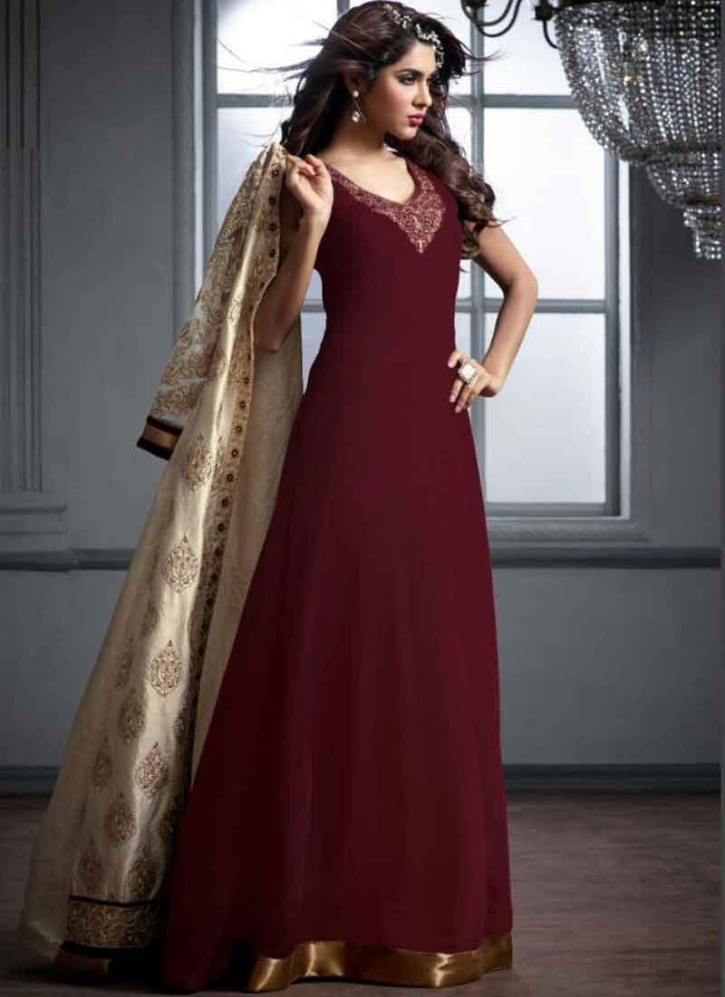 1479eafb6f Dazzling Maroon And Cream Heavy Resham Work Banarasi Silk Anarkali Suit