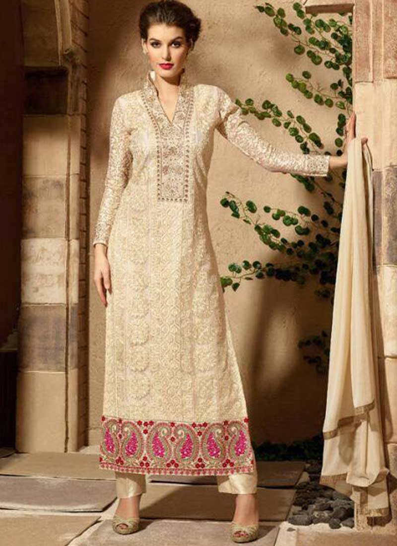 fa143d0171 Beige Embroidery Thread Work Lace Border Georgette Designer Pakistani Suits