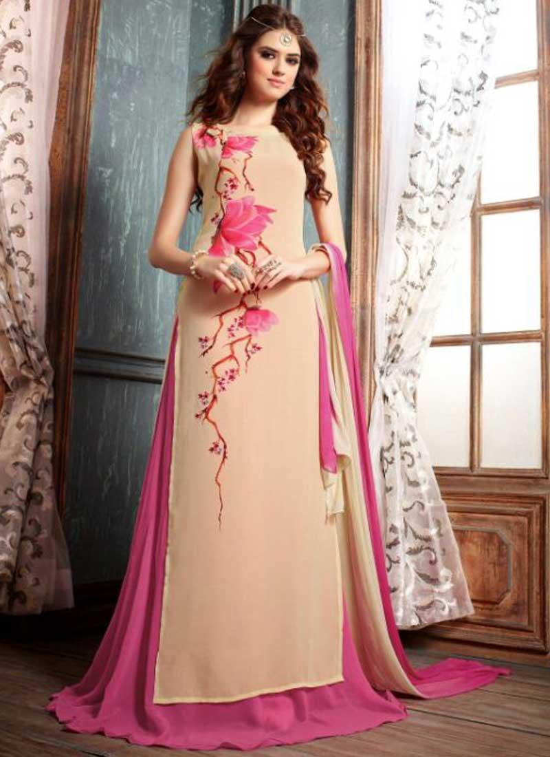 c216f66dbb Peach Pink Flower Printed Georgette Designer Long Anarkali Salwar Kameez