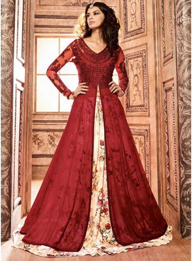 Maroon Beige Embroidery Work Silk Banarasi Printed Designer Anarkali ...
