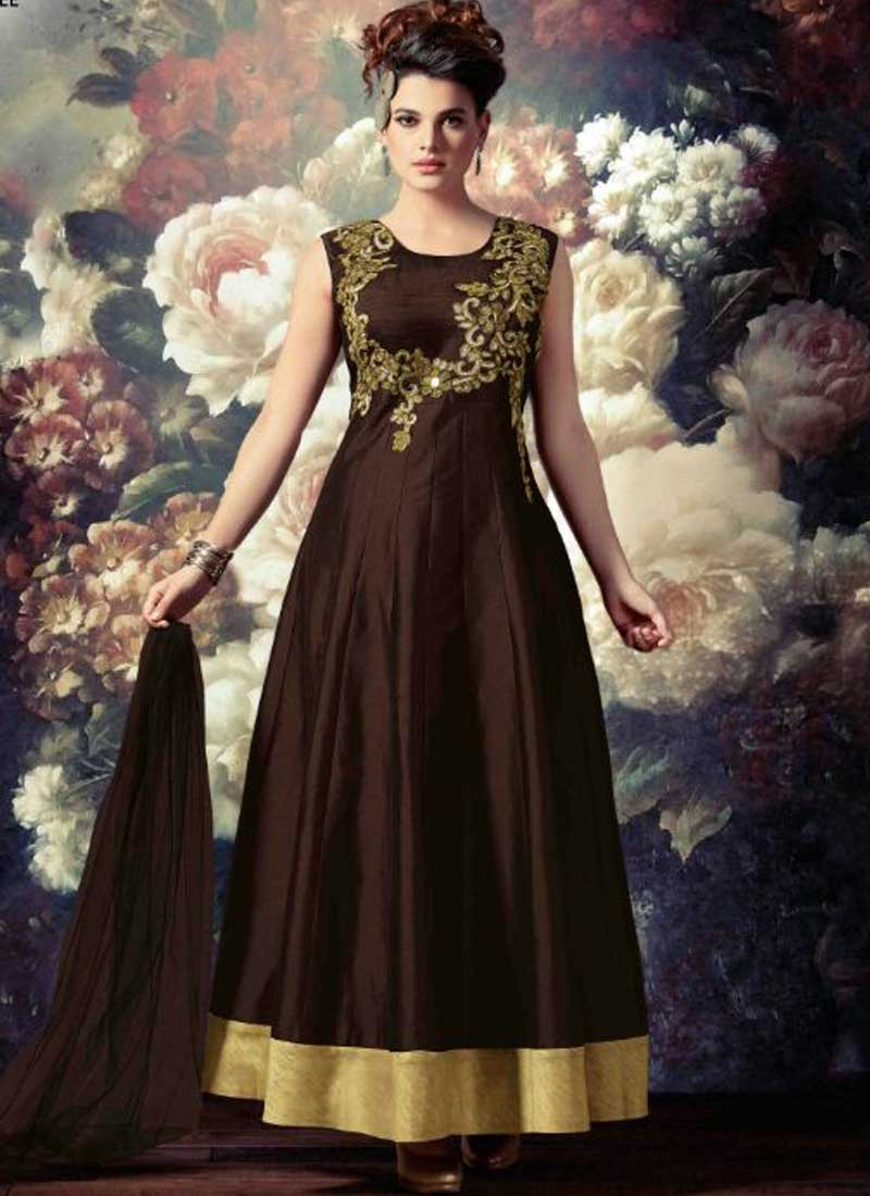 a5a45ff0a98 Choco Brown Embroidery Work Tapeta Silk Designer Long Anarkali Suit ...
