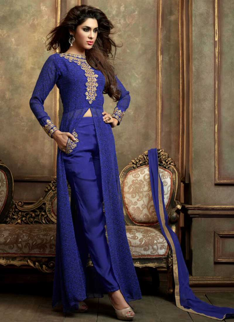 13fe63fedb Royal Blue Faux Georgette Designer Pakistani Suit. Online Buy ...