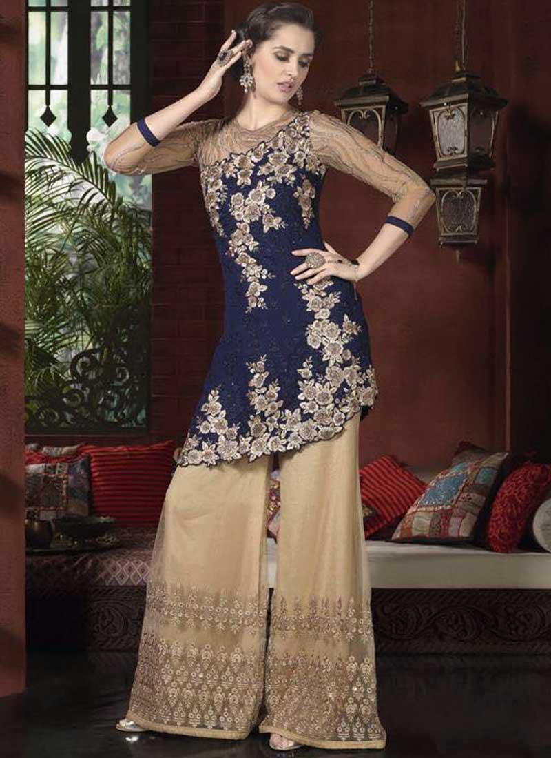 8ba85d8274e Navy Blue Beige Embroidery Cut Work Net Georgette Wedding Pakistani Palazzo  Suit