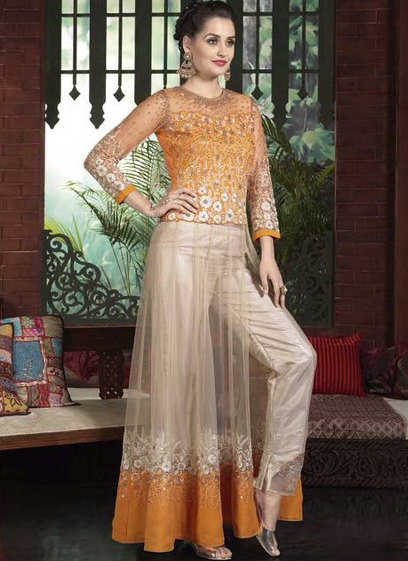 e92d16fd8e Orange Beige Embroidery Work Net Silk Party Wear Pakistani Anarkali Palazzo  Suit
