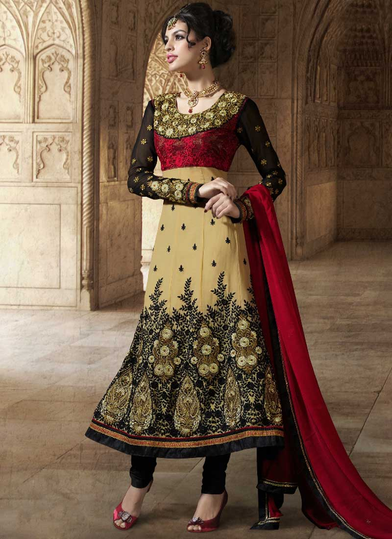 5fd2329f36 Beige Black Red Embroidery Work Georgette Fancy Designer Long Anarkali Suit