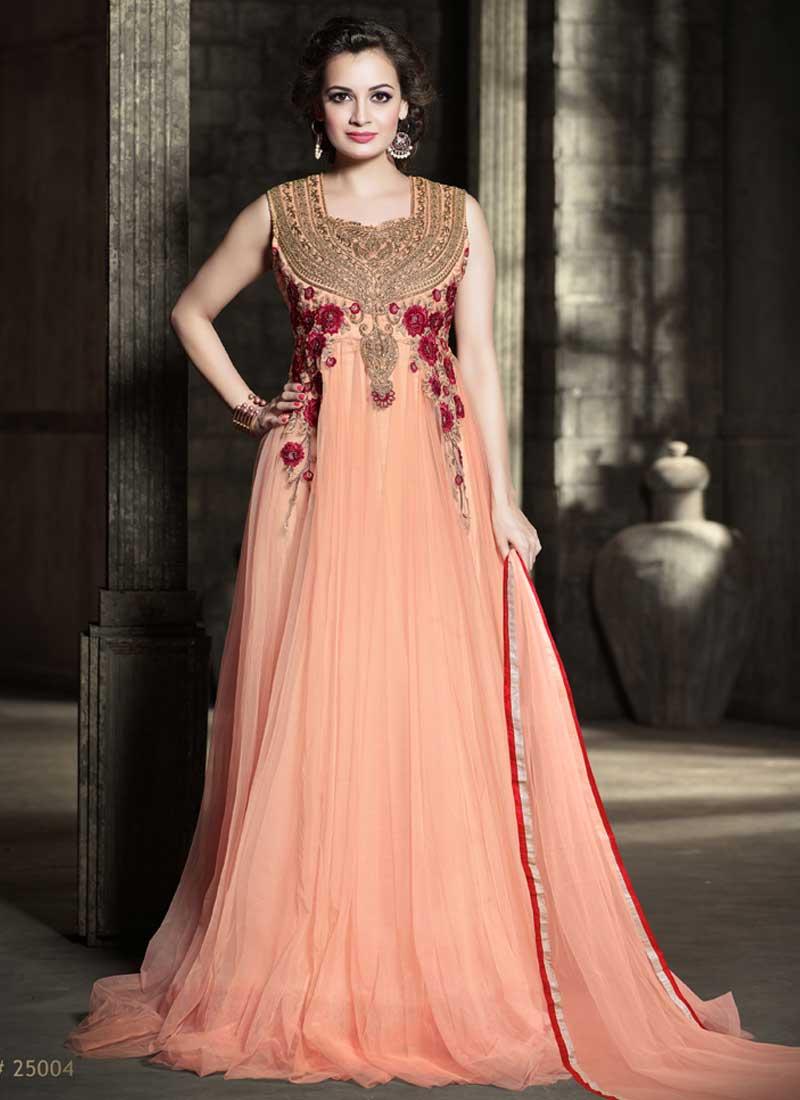 ae8f7a543 Precious Peach Embroidery Thread Work Net Bollywood Anarkali Suit ...