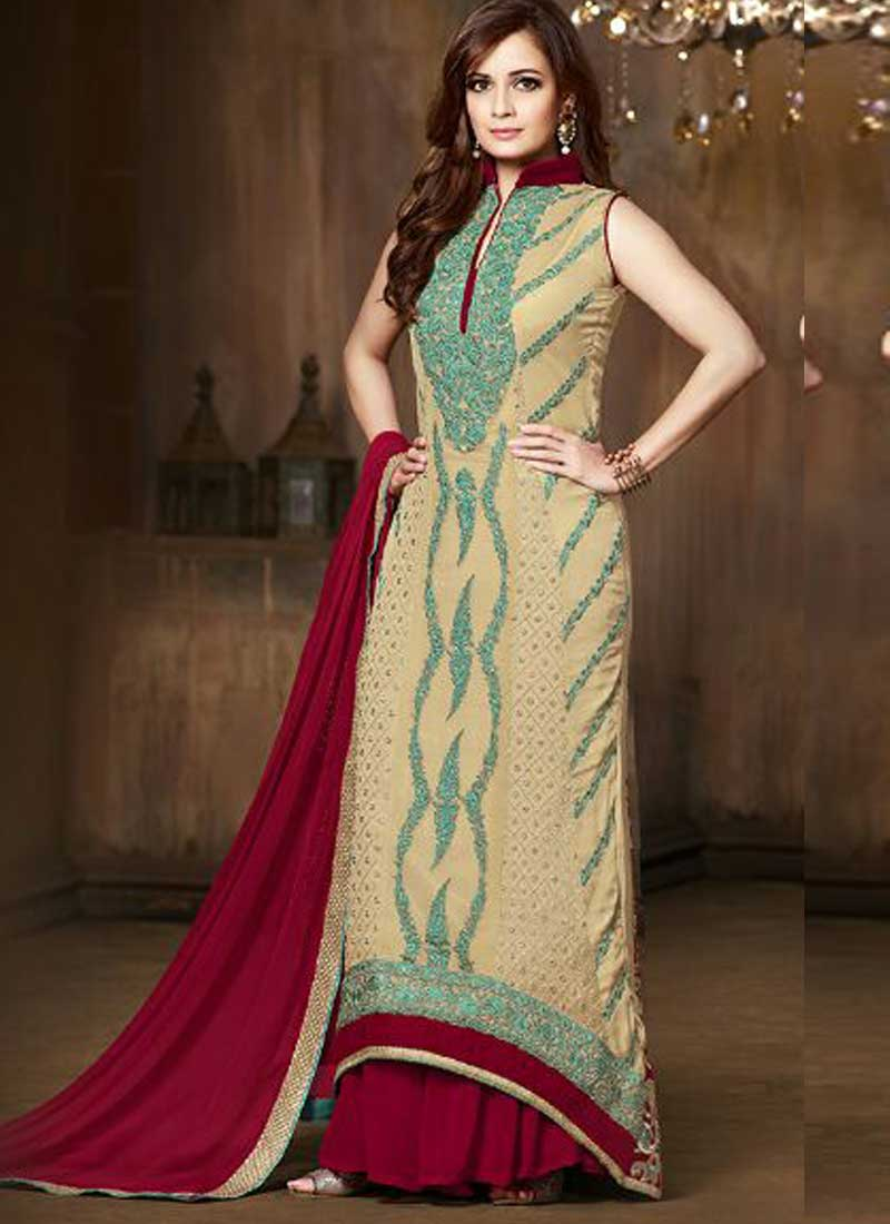 f988f5c8ad9 Dia Mirza Red Cream Sequins Work Stone Work Party Wear Pakistani Salwar  Kameez
