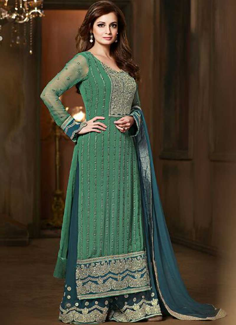 7b7262be310 Dia Mirza Teal Embroidery Thread Work Chiffon Party Wear Pakistani Salwar  Suit