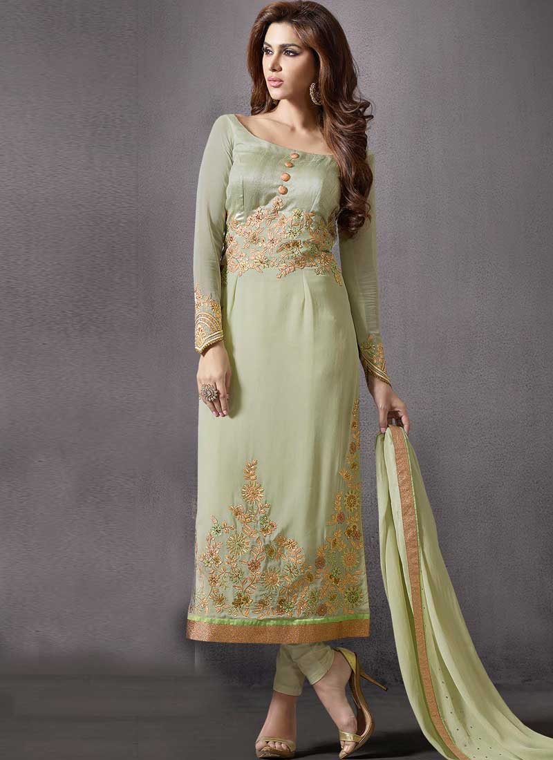 0402b93024 Pista Green Embroidery Work Silk Georgette Pakistani Designer Suit ...
