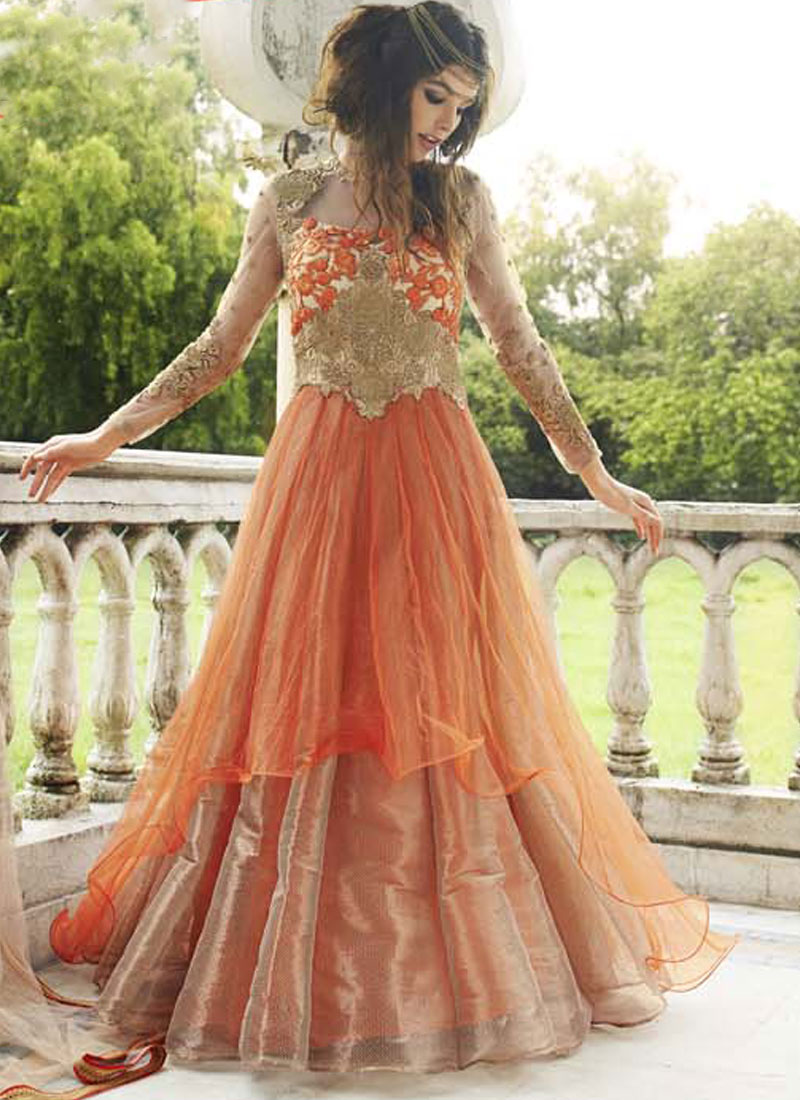 5177ebcdcdd Cream Orange Embroidery Work Net Long Designer Party Wear Anarkali Gown Suit