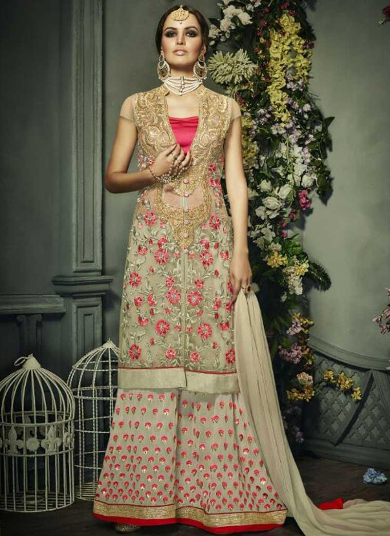 1482b802a1f Cream Pink Stone Work Zari Work Net Georgette Bridal Pakistani Palazzo Suit