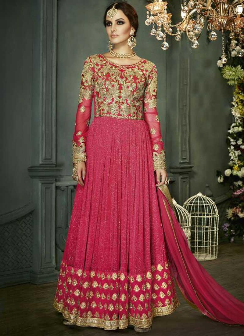 0435b86fb0 Hot Pink Embroidery Zari Stone Work Fancy Net Long Anarkali Wedding Gown  Suit