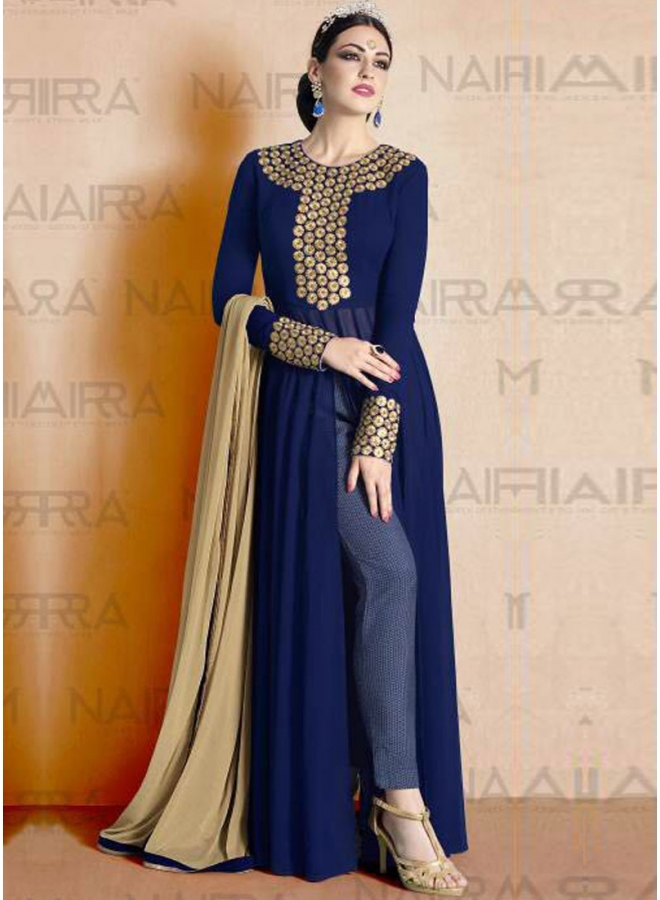 d0a7662279 Navy Blue Beige Embroidery Work Georgette Print Palazzo Pakistani Designer  Suit