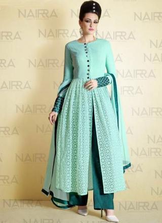 c9e55c2526 Sky Blue Aqua Embroidery Work Net Khadi Print Designer Pakistani Palazzo  Suit