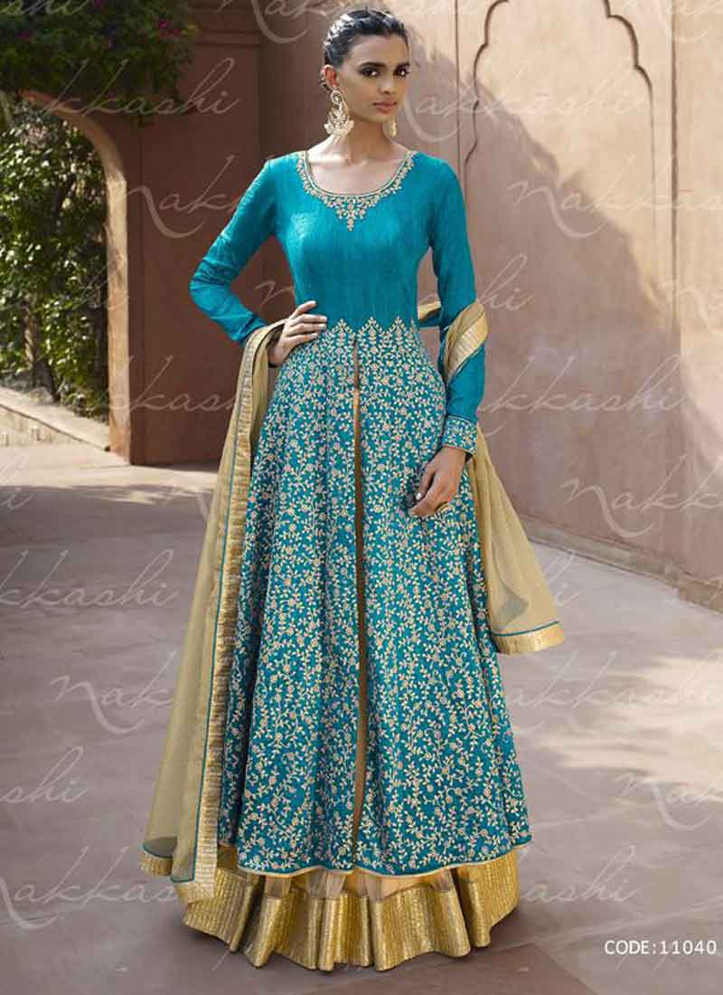 Beautiful Blue Bhagalpuri Silk Heavy Embroidered And Stone Work ...