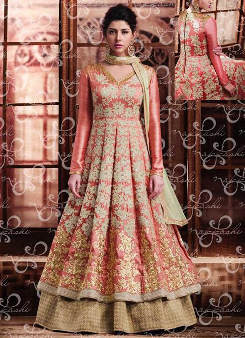 2c0f61da57a Peach Beige Embroidery Work Banarasi Silk Chiffon Designer Anarkali ...
