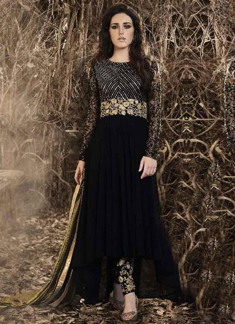 3987499a3d Black Embroidery Work Georgette Chiffon Designer Fancy Long Anarkali Suit