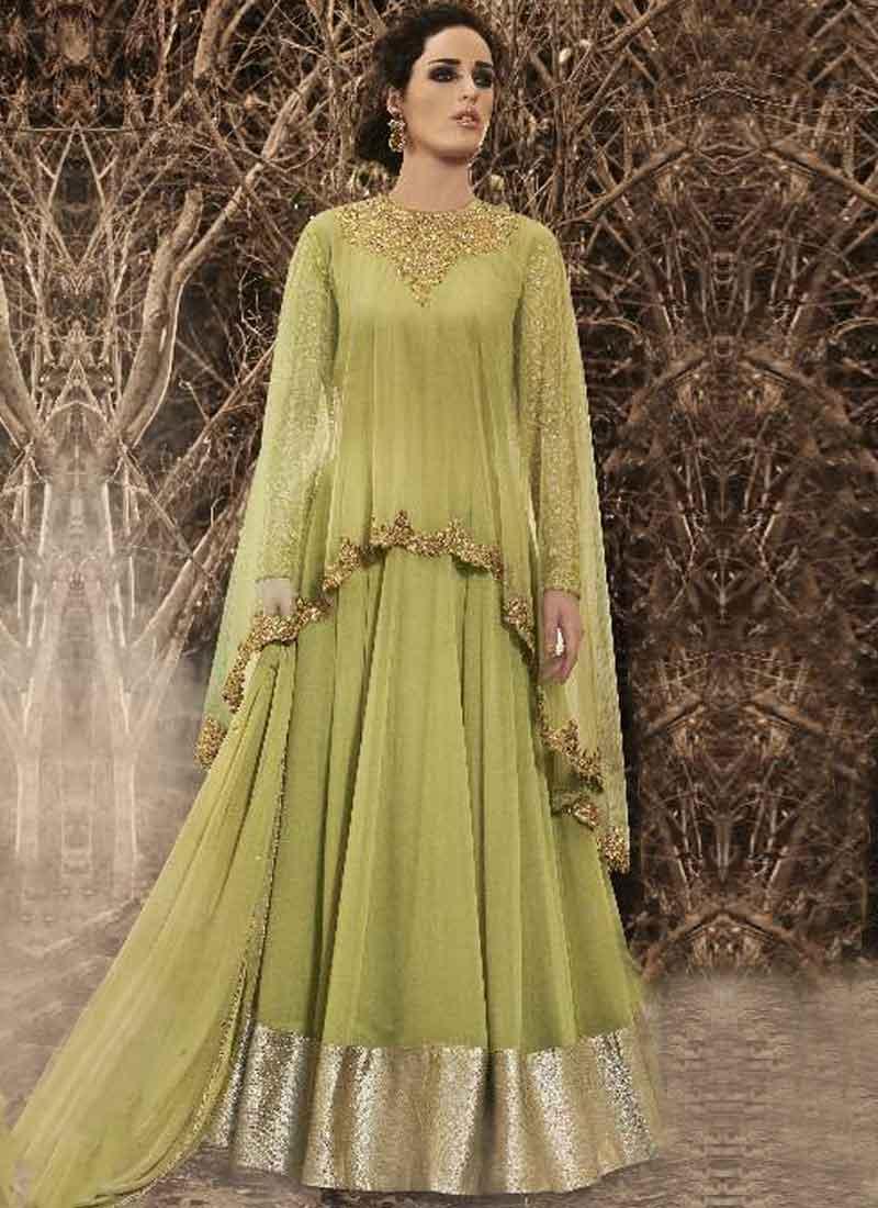 09e9a82b8d Pista Green Embroidery Work Georgette Chiffon Net Designer Long Anarkali  Suit