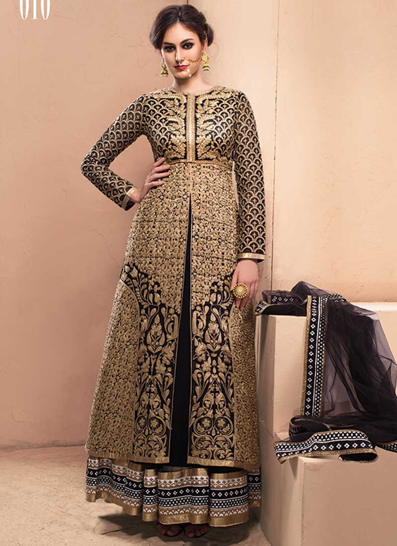Double Layer Black And Brown Heavy Embroidery Work Chanderi Silk ...