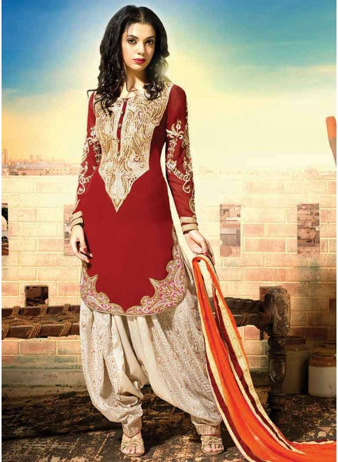 Latest Red And Off White Georgette Embroidery Work Patiala Suit