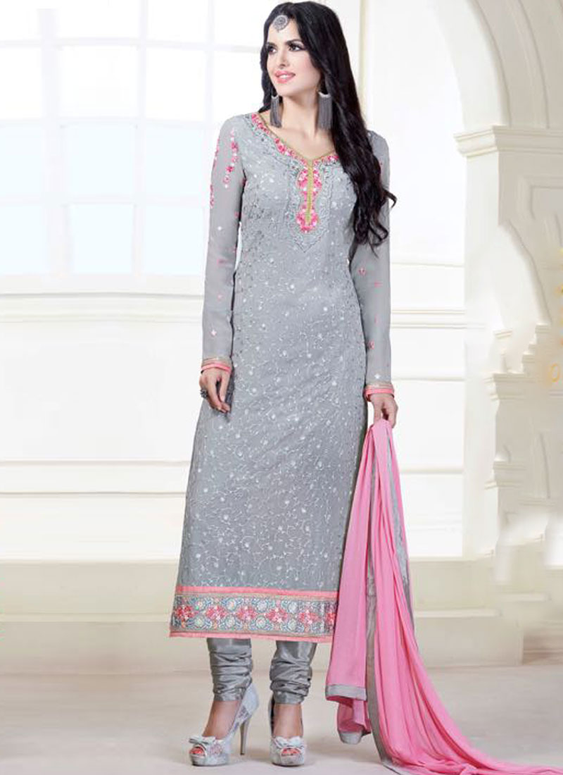8dd140f9cd Grey Pink Embroidery Work Georgette Party Wear Designer Churidar Salwar Suit