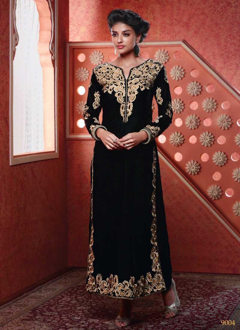 Dazzling Black Velvet Border Work Designs Suit. Buy Online Shopping ... 804d793e0