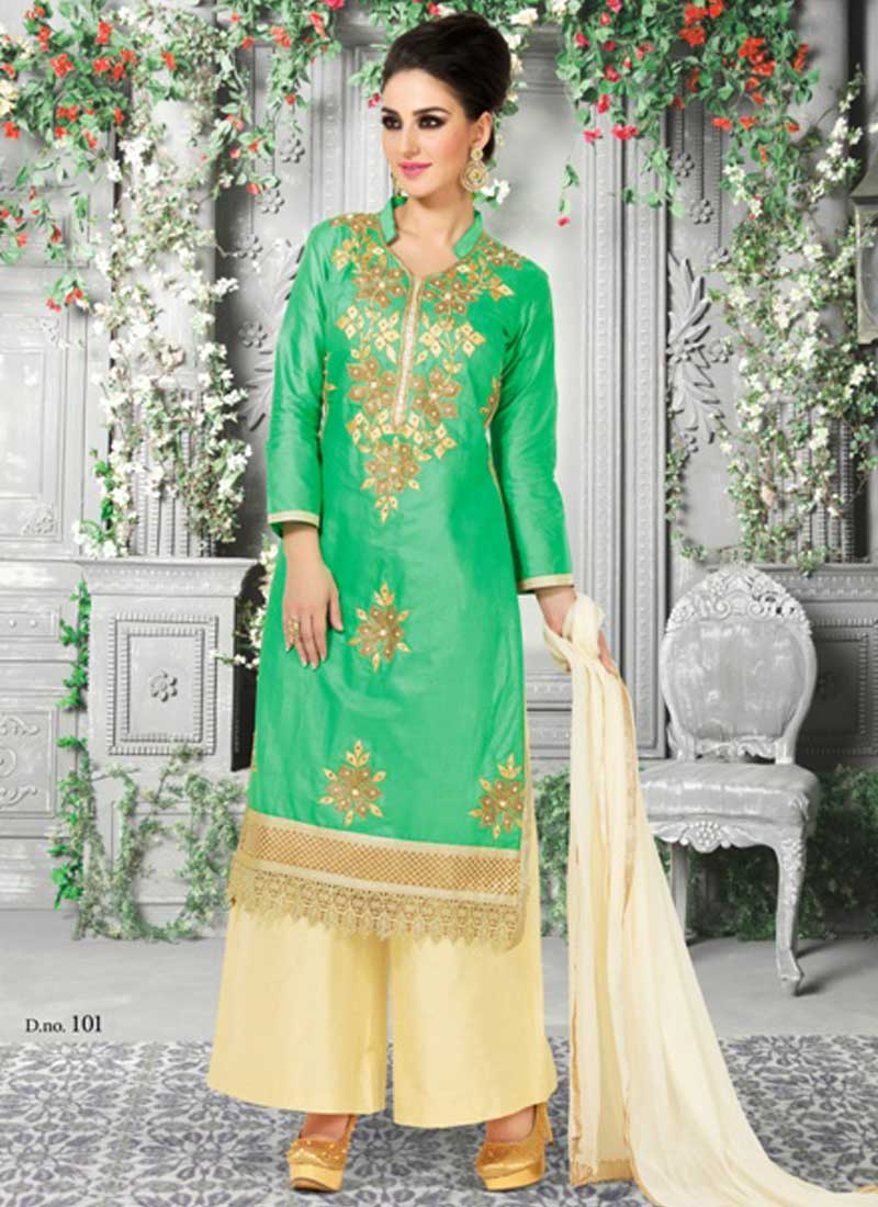 82a4c055a9 Latest Green And Cream Hand Work Zari Resham Pakistani Suit. Online ...