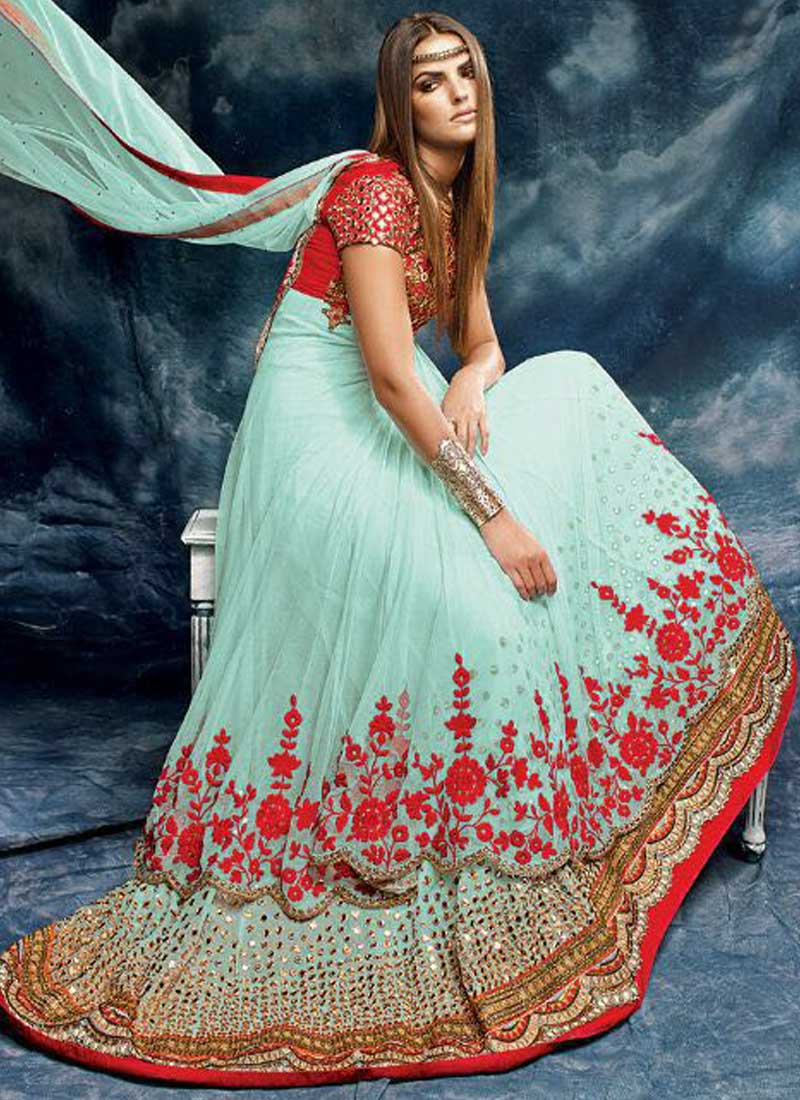 Turquoise Red Embroidery Work Net Silk Designer Anarkali Wedding ...