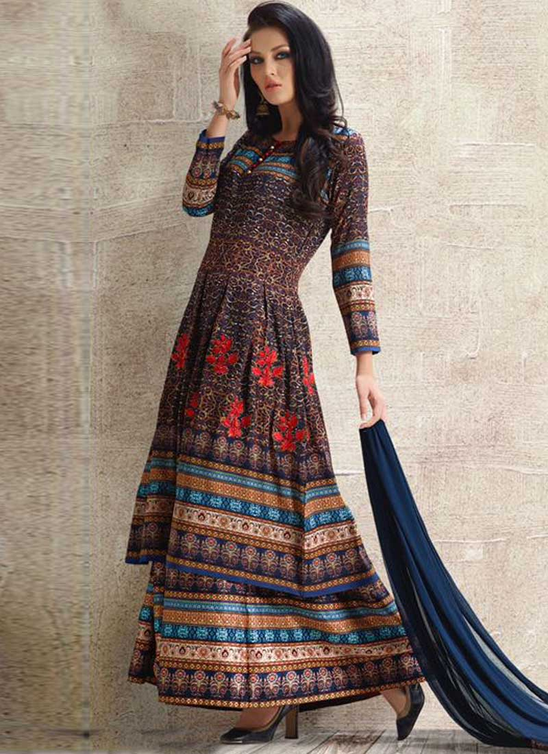 7f617924897 Navy Blue Embroidery Work Georgette Satin Designer Print Pakistani Palazzo  Suit