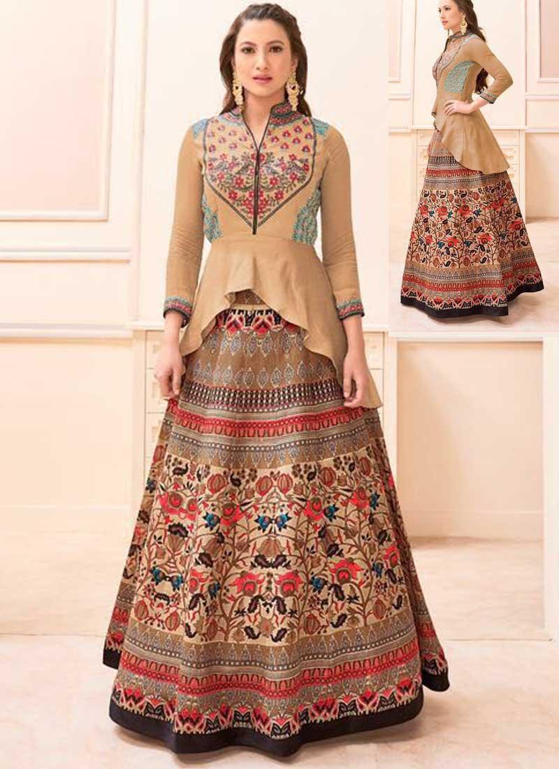 b5e2e18421 Cream Embroidery Work Banglori Silk Satin Print Designer Bollywood Anarkali  Suit