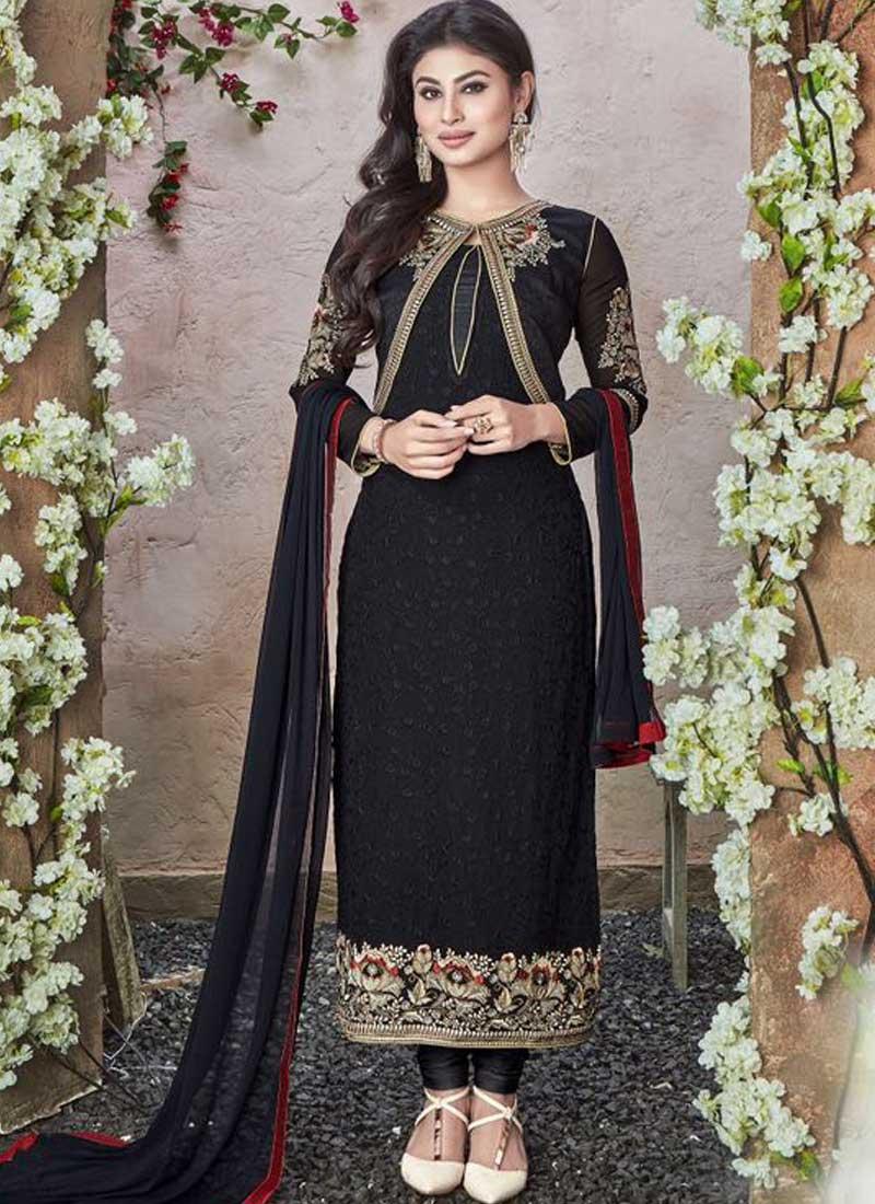 05425c352d Mouni Roy Black Embroidery Resham Work Georgette Churidar Salwar Suit