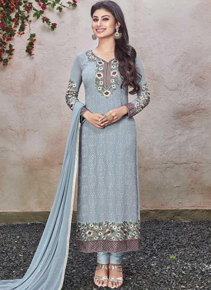 Mouni Roy Grey Embroidery Work Georgette Long Bollywood Churidar ...