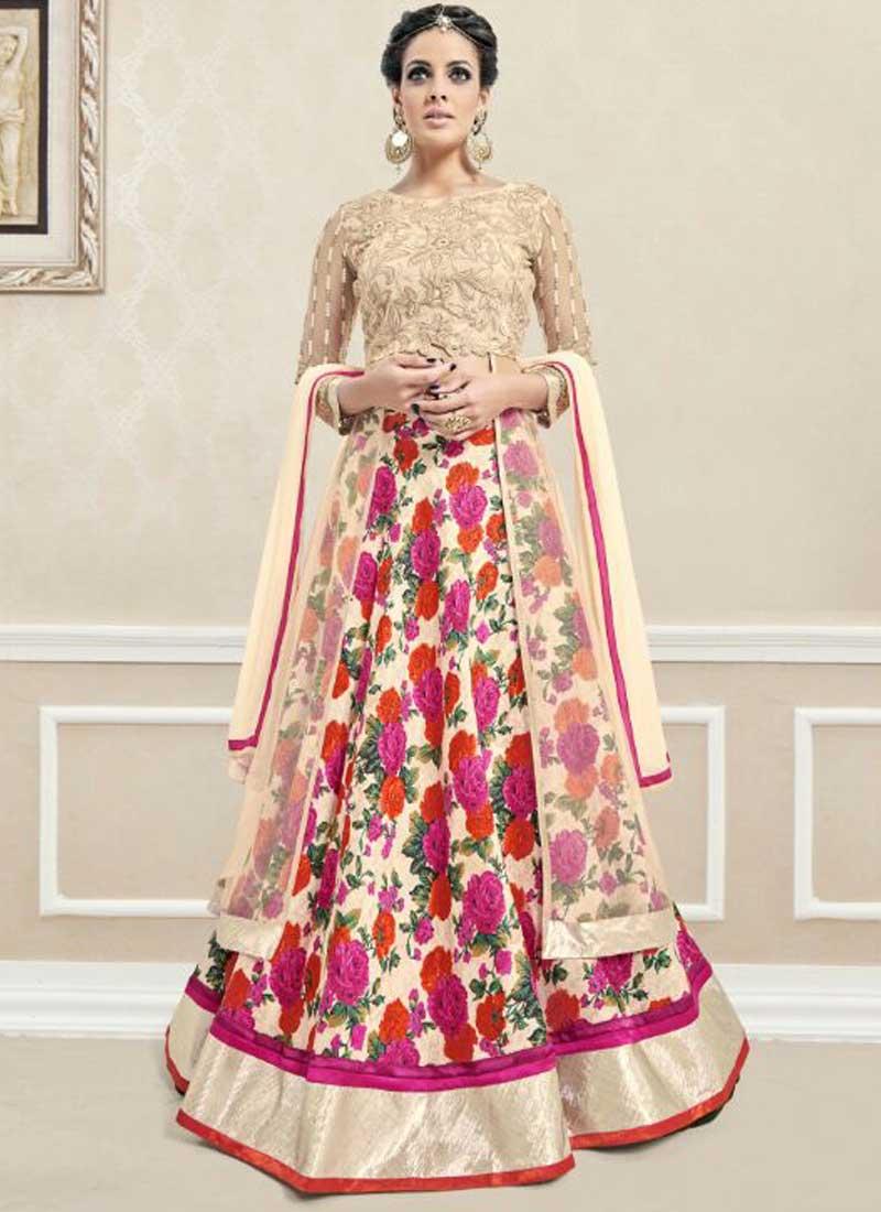 Dresses sarees suits lengha anarkali lehenga pink anarkali lehenga - Cream Embroidery Work Georgette Printed Silk Lehenga Designer Anarkali Suit