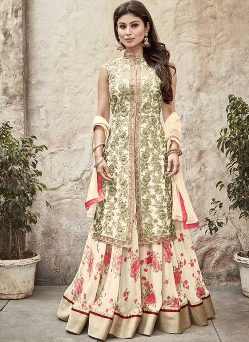 Dresses sarees suits lengha anarkali lehenga pink anarkali lehenga - Mouni Roy Beige Embroidery Work Printed Georgette Lehenga Style Suit