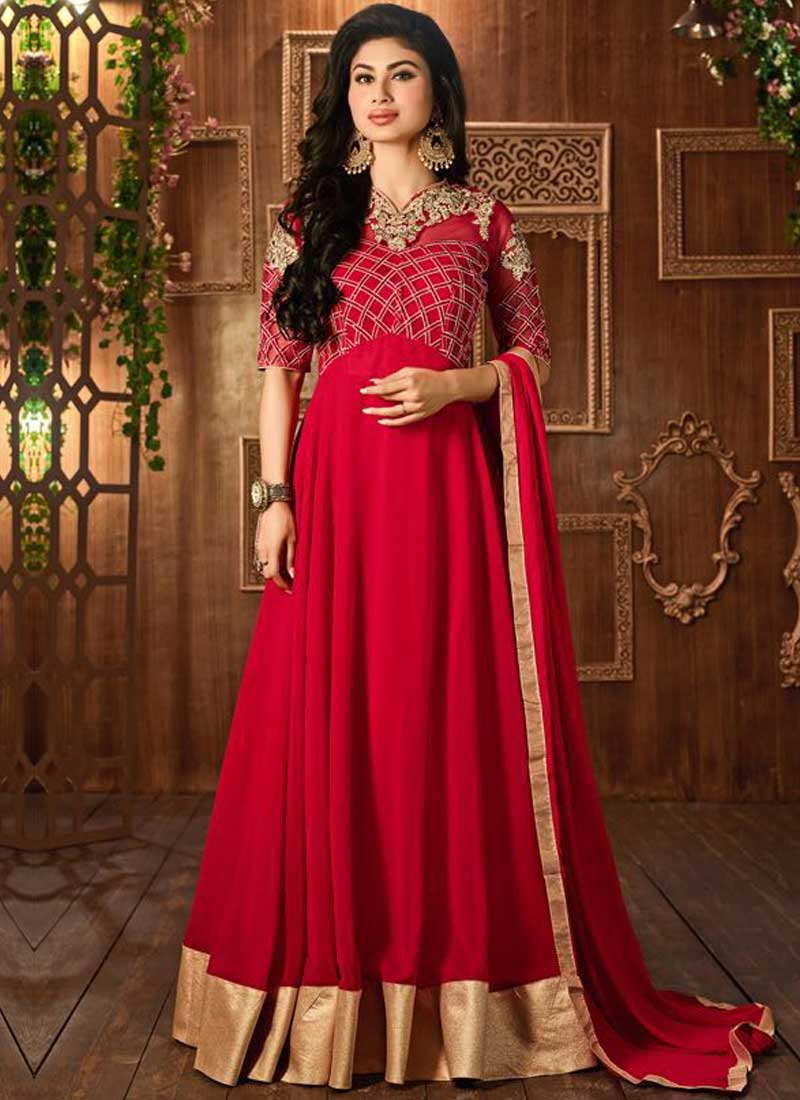 4ede2e45f4 Mouni Roy Magenta Embroidery Work Georgette Designer Long Fancy Anarkali  Suit