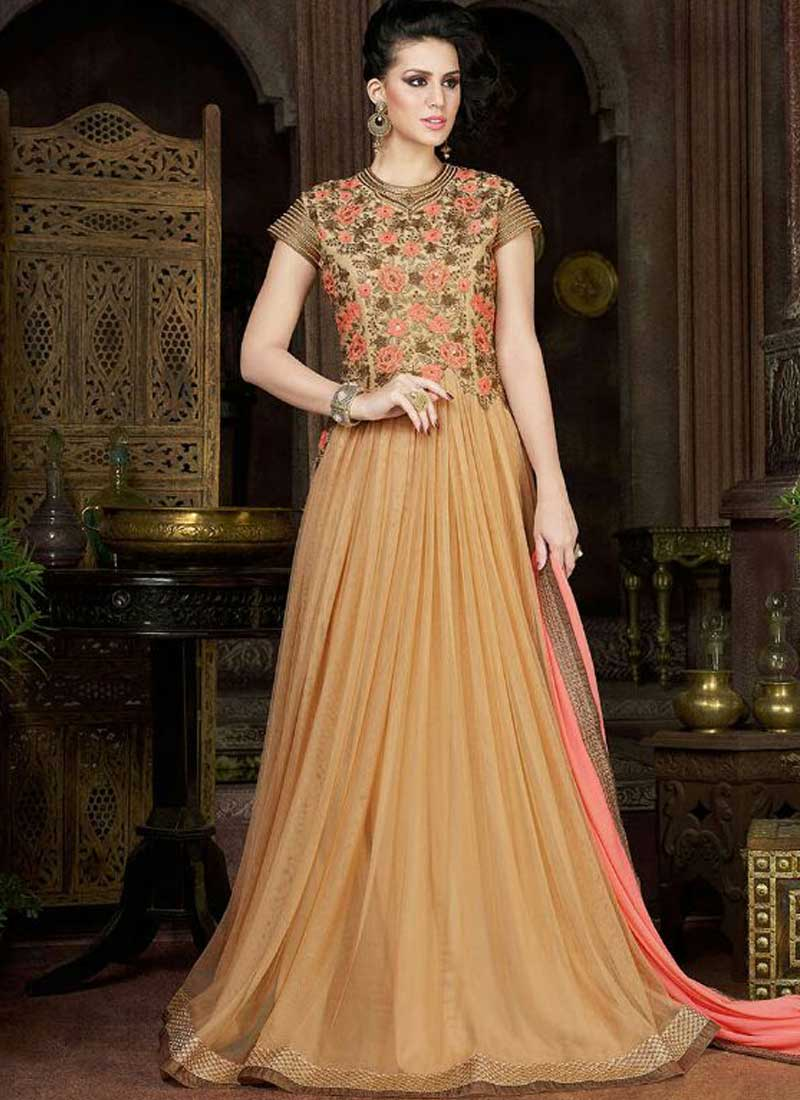 Buy Beige Embroidery Work Stone Work Long Net Party Wear Gown Online ...
