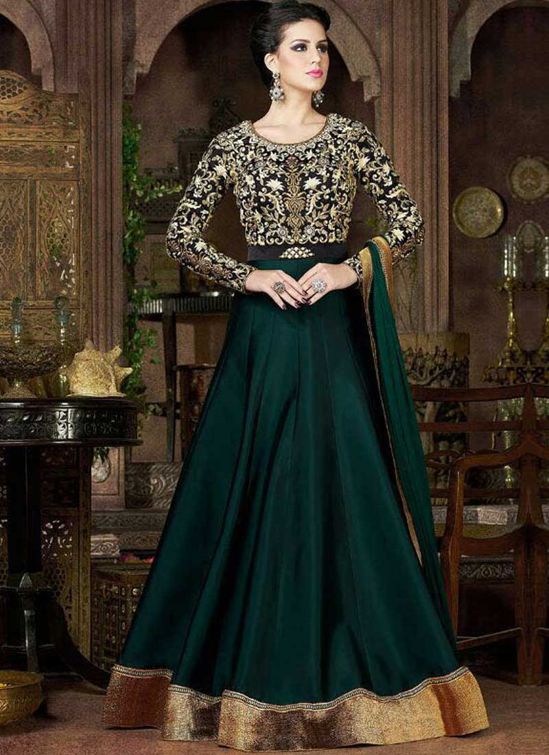 9607a188ac Green Black Embroidery Work Tapheta Silk Long Party Wear Anarkali Gown  Online