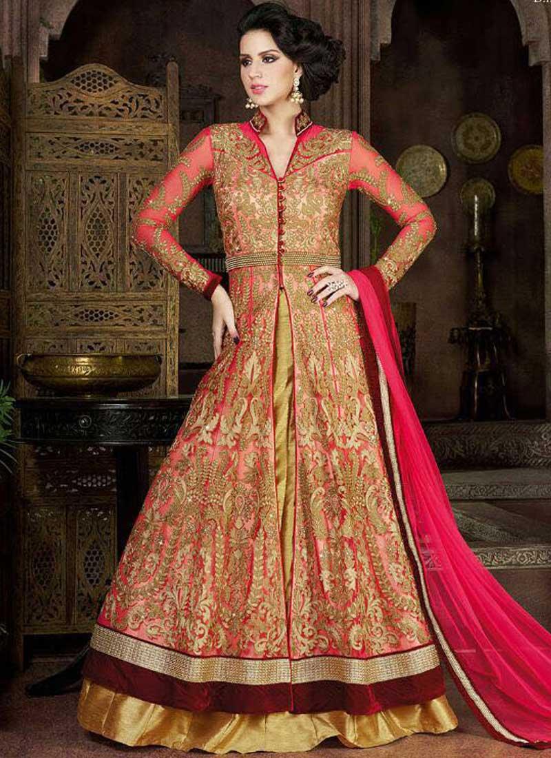 Pink Golden Embroidery Thread Work Net Silk Lehenga Anarkali ...