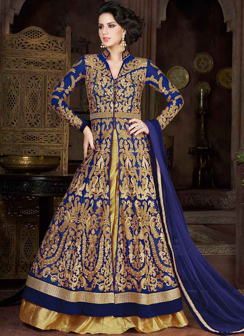 0bd6bfa795 Blue Gold Embroidery Work Net Designer Silk Lehenga Style Long Anarkali Suit
