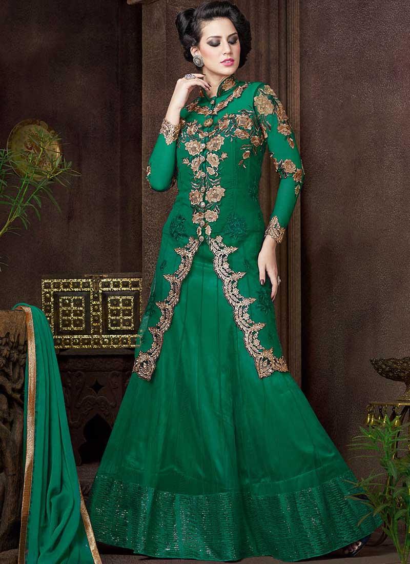 677af83ef5 Green Embroidery Work Net Designer Fancy Lehenga Style Long Anarkali Suit